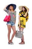 Girls in summer clothing with bags isolated on the Royalty Free Stock Photos