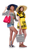 Girls in summer clothing with bags isolated on Stock Image