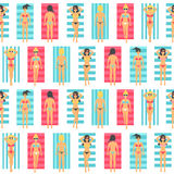 Girls sunbathe in the beach. Seamless pattern. Stock Images