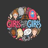 Girls support girl. Round composition with women faces and femin stock illustration