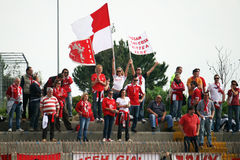 Girls supporters. A group of girls supporters of perugia at eboli for the professional italian football match ebolitana-perugia.april 2012 Royalty Free Stock Images