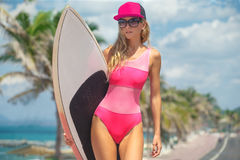 Girls surfer Royalty Free Stock Photo