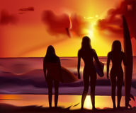 Girls and surfing Royalty Free Stock Images