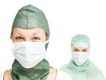 Girls with Surgical masks Stock Photo