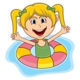 Girls swim cartoon stock photography