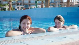 Girls in  swimming pool Stock Image