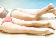 Girls in swimming pool Royalty Free Stock Photo
