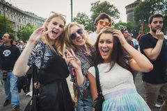 Girls taking part in Mayday parade in Milan, Italy Stock Photos