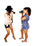 Girls taking pictures. Stock Photo