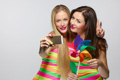 Girls taking selfie with smartphone Stock Images