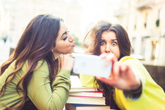 Girls taking selfie Royalty Free Stock Photography