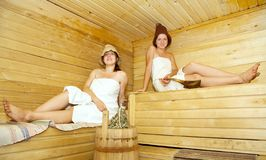 Girls is taking steam-bath Royalty Free Stock Photo