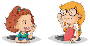 Girls talking. Illustration of a girls talking on a white background Royalty Free Stock Photo