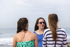 Girls Talking Beach Stock Image