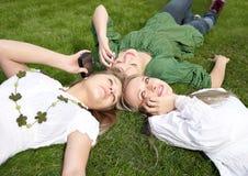 Girls talking on mobile Stock Photos