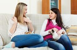 Girls  talking on sofa Royalty Free Stock Images
