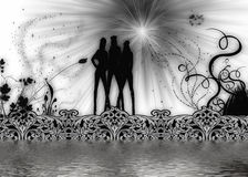 Girls Team. An abstract illustration design showing a team of 3 girls Royalty Free Stock Images