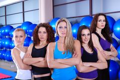 Girls team in a fitness center Royalty Free Stock Image