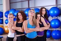 Girls team in a fitness center Stock Photo