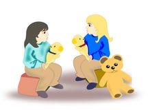 Girls with Teddy Bears Stock Photos