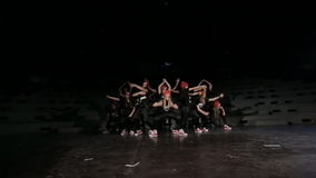 Girls Teenage hip hop dance crew. Dancing in studio with black background stock footage