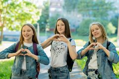 Girls teenagers in summer in the park in fresh air. Gesture hands show the heart of love. Dressed in casual clothes. The royalty free stock photos