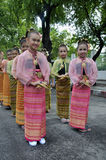 Girls in Thai Traditional Dress. BANGKOK, THAILAND - OCTOBER 3: Thai Traditional Dress. This is the parade of making traditional merit of people from the stock photo