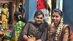 Girls of Thaipusam - Indian Holyday. Kuantan - February 3: Sri Mariamman Temple, Indian girls in the temple after performing their prayers during the celebration Stock Photo