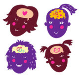 Girls thinking concept. Girls thinking - cute cartoon concept in vector Stock Photography