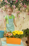 Girls  of three years care for flowers,. Two charming girls twins of three years play gardeners, water a yellow primrose in a pot, a beautiful, life-pleasing Royalty Free Stock Photos
