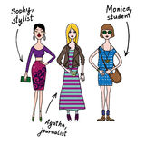 Girls. Three young girls dressed in different styles Royalty Free Stock Photo