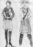 Girls to models, demonstrate cloth. Drawn by pencil Stock Photography