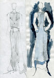 Girls to models, demonstrate cloth. Drawn by pencil Royalty Free Stock Images
