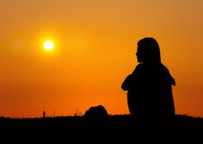 Girls to see the sunrise Royalty Free Stock Photography