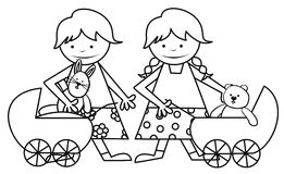 Girls and toys - coloring book. Two girls with strollers and animals - coloring pages for kids Stock Images