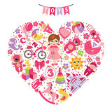 Girls toys icons.Composition in the form of heart Royalty Free Stock Photos