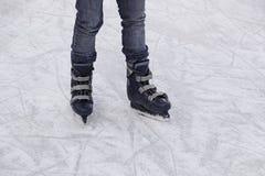 Girls track skating. Ice skating rink, fun and entertainment royalty free stock image