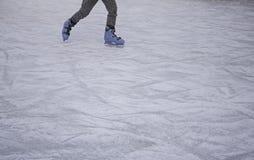 Girls track skating. Ice skating rink, fun and entertainment stock image