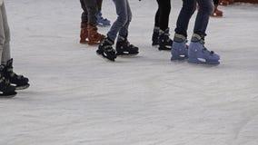 Girls track skating. Ice skating rink, fun and entertainment stock photo