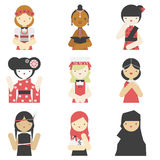 Girls in traditional clothes flat icons Royalty Free Stock Photos
