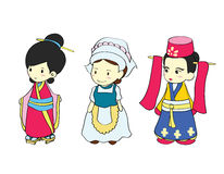 Girls in traditional costume of Asian country Royalty Free Stock Photography