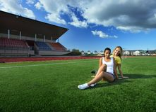 Girls after training Royalty Free Stock Images