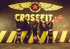 Crossfitters training hard daily wod gymnastics royalty free stock photography