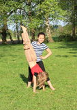 Girls training handstand Royalty Free Stock Photography