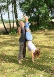 Girls training handstand Stock Photo
