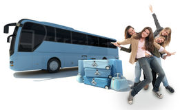Girls traveling by coach. A group of happy girls celebration a coach trip Royalty Free Stock Images