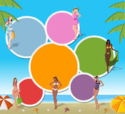 Girls on tropical beach. Colorful template for advertising brochure with beautiful cartoon girls on tropical beach Stock Photography