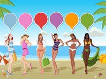 Girls on tropical beach. Beautiful cartoon girls on tropical beach with blue ocean Royalty Free Stock Photography