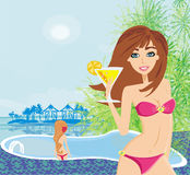 Girls and tropical pool. Illustration Royalty Free Stock Image