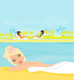 Girls and tropical pool vector illustration